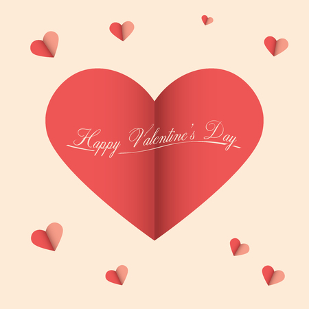 decoration: Valentines Day Vector Illustration | Cut Paper Abstract Background with Heart Illustration