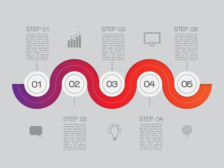 numbers background: Steps One, Two, Three, Four, Five. Illustration with Inforgraphics Symbols Technology. Progress Design for Presentations. Illustration