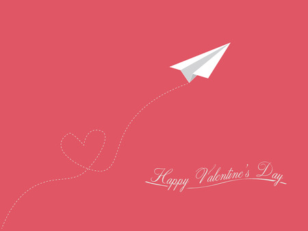 red wallpaper: Happy Valentines Day Minimal Background Vector Flying Airplane Design