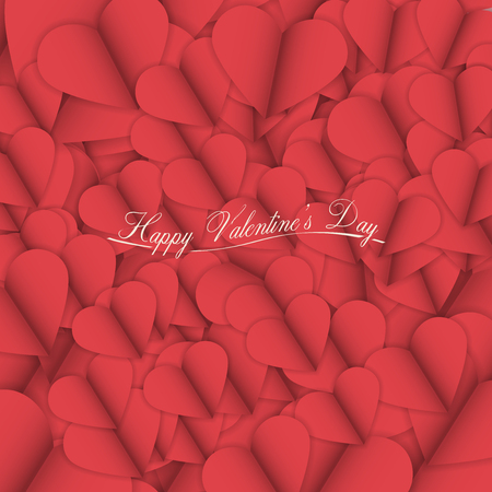 Valentines Day Vector Illustration   Cut Paper Abstract Background with Heart Illustration