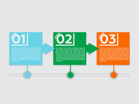 blue green background: Steps One, Two, Three. Illustration with Inforgraphics Symbols Technology. Progress Design for Presentations.