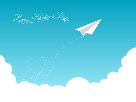 decoration: Happy Valentines Day Minimal Background Vector Flying Airplane Design