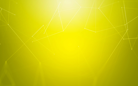 abstract backgrounds: Abstract Yellow Background with 3D Polygonal Low Poly Connecting Dots and Lines - Connection Structure - Futuristic HUD Background
