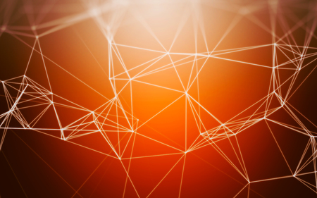 mesh: Abstract Orange Background with 3D Polygonal Low Poly Connecting Dots and Lines - Connection Structure - Background futuristic HUD Stock Photo