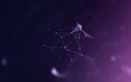 chaos: 3D Polygonal Space Abstract Background with Bright Purple Low Poly Connecting Dots and Lines - Connection Structure - Futuristic Design HUD