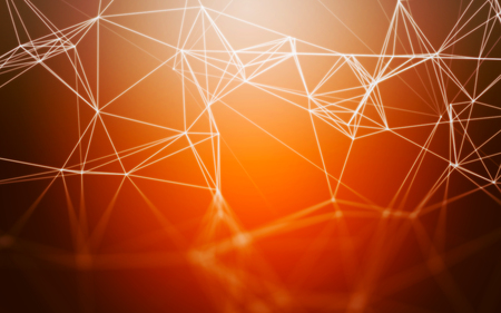 abstract backgrounds: Abstract Orange Background with 3D Polygonal Low Poly Connecting Dots and Lines - Connection Structure - Background futuristic HUD Stock Photo