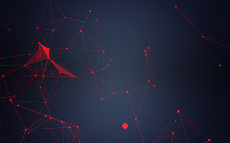 modern background: Abstract Polygonal Background with Space Dark Blue Red Connecting Dots and Lines | futuristic Design