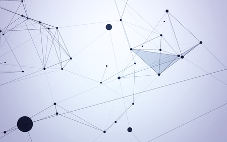 pattern: White Abstract Polygonal Background with Dark Blue Low Poly Connecting Dots and Lines - Connection Structure - Futuristic Design HUD