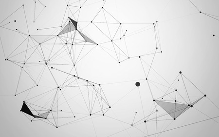 pattern: Abstract Low Poly Connecting Dots and Lines on White Background - Connection Structure - Futuristic HUD Stock Photo