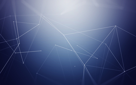 chaos: Abstract Blue Background with Space Polygonal Connecting Dots and Lines | Network - Data Visualization Illustration Stock Photo