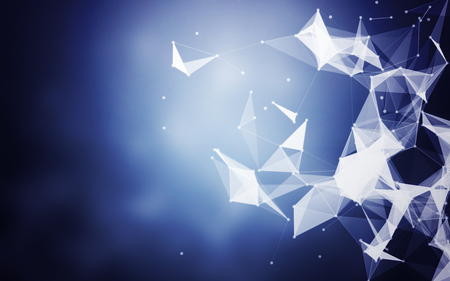 Polygonal Space Abstract Blue Background with Low Poly Connecting Dots and Lines - Background futuristic HUD Stock Photo