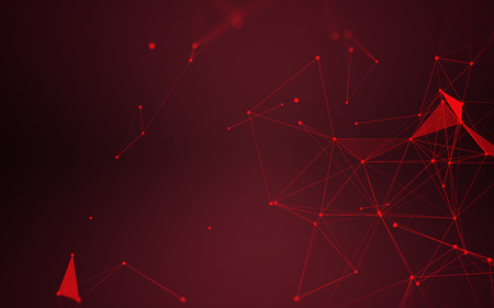 Polygonal Space Abstract Background with Dark Red Connecting Dots and Lines   futuristic Design