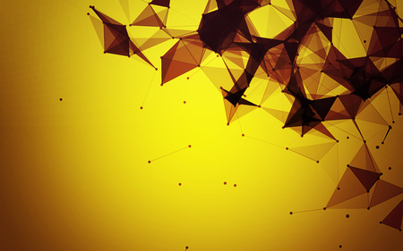 Polygonal Space Abstract Yellow Background with Brown Connecting Dots and Lines | futuristic Design Stock Photo