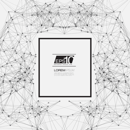 modern background: Black and White Abstract Background Vector Mesh Network with Black Frame