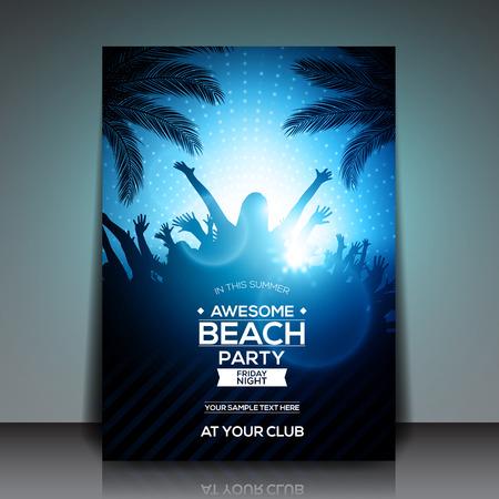 beach sunset: Blue Summer Beach Party Flyer Template - Vector Design