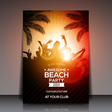 beach sunset: Orange Summer Beach Party Flyer Template - Vector Design