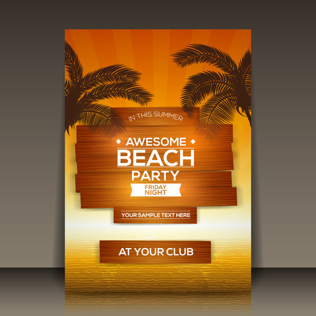 brown: Awesome Beach Party Flyer Template Vector Background