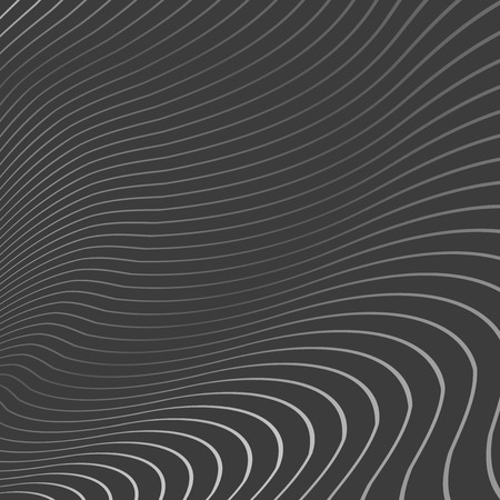 grid: Bright 3D Wavy Lines on Dark Gray Background - Vector Illustration Abstract