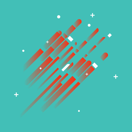 Minimalistic Abstract Design - Creative Concept - Modern Abstract Turquoise Diagonal Gradient Background with Geometric Elements. Red Diagonal Lines & Circles. Vector Illustration Illustration