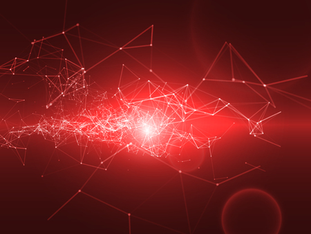 digital background: 3D Abstract Red Background with Space Polygonal Connecting Dots and Lines | Futuristic Vector Illustration