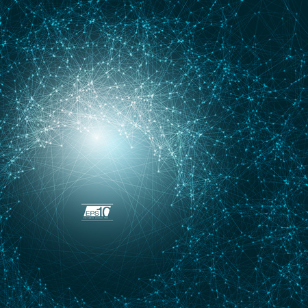 mesh: Abstract Blue Background with Space Polygonal Connecting Dots and Lines | Futuristic Vector Illustration Illustration