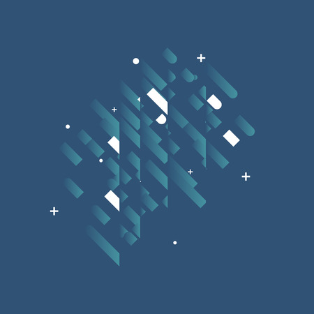 abstract backgrounds: Minimalistic Abstract Design - Creative Concept - Modern Geometric background with diagonal elements. Blue, white diagonal lines, triangles, circles and plus sign. vector illustration