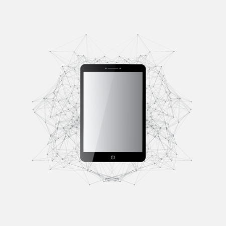 mesh: Digital Tablet Global Network Connections Illustration Design | Geometric Circles and Lines with Mesh | Communication Concept