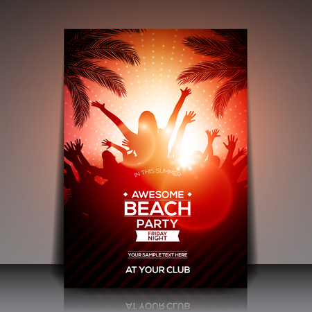 happy: Red Summer Beach Party Flyer Template - Vector Design