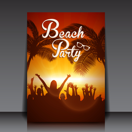 Disco Beach Party with People Silhouettes Vector Flyer Template Illustration