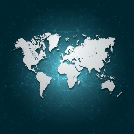 digital: World Map with Vector Mesh Background Abstract
