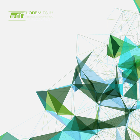 abstract backgrounds: Blue and Green Abstract Background Vector Mesh Network with text