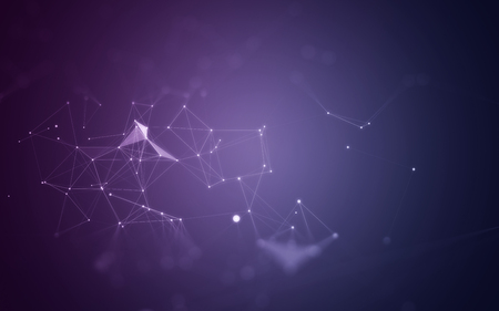 modern background: Abstract Purple Background with 3D Polygonal Low Poly Connecting Dots and Lines - Connection Structure - Background futuristic HUD