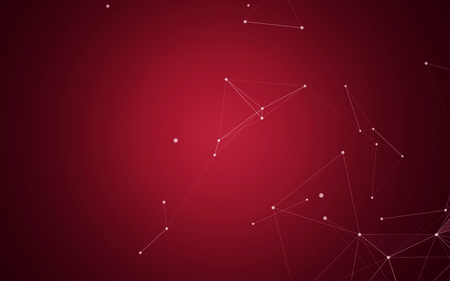 digital: Polygonal Space Abstract Background with Dark Red Connecting Dots and Lines | futuristic Design