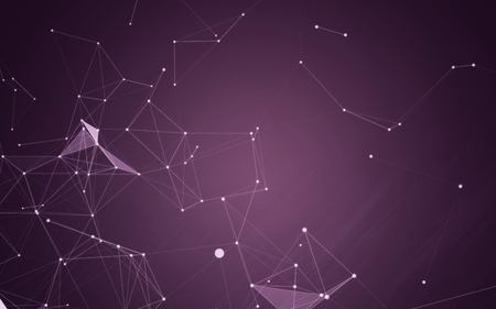abstract backgrounds: Abstract Purple Background with 3D Polygonal Low Poly Connecting Dots and Lines - Connection Structure - Background futuristic HUD