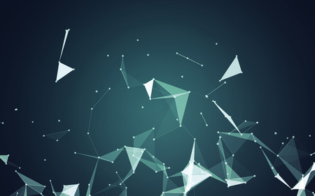 abstract backgrounds: Abstract Blue Background with 3D Polygonal Low Poly Connecting Dots and Lines - Connection Structure - Background futuristic HUD