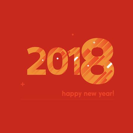 Feliz año nuevo 2018 Vector Illustration - Diseño creativo con texto en negrita sobre fondo rojo - Líneas naranjas y blancas, círculos, signo Plus