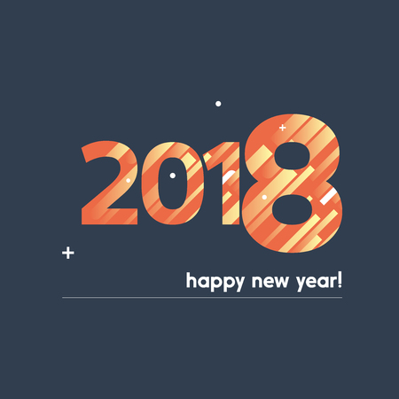 Happy New Year 2018 Vector Illustration - Creative Design with Bold Text on Blue Background - Orange, Yellow and White Lines, Circles, Plus Sign