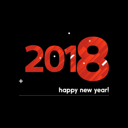 festive: Happy New Year 2018 Vector Illustration - Creative Design with Bold Text on Black Background - Red and White Lines, Circles, Plus Sign Illustration