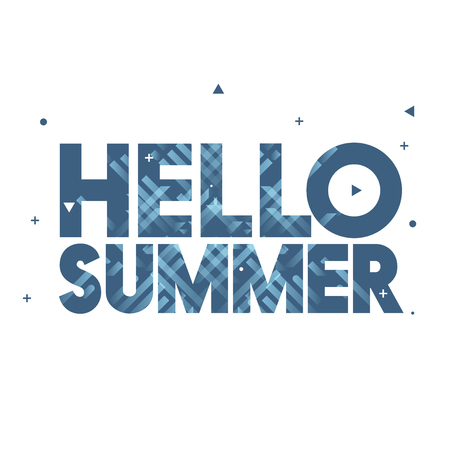 Hello Summer Vector Illustration - Creative Design with Bold Text on White Background - Blue Lines, Triangles, Circles, Plus Sign Illustration