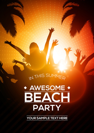 Editable Vector Summer Beach Party Flyer Template | A4 Size Design Concept with Young People Dancing Silhouette Palm Trees at Sunset Below Illustration