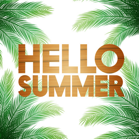 modern background: Hello Summer Vector Illustration - Bold Text with Palm Trees on White Background Illustration