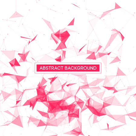 chaos: Abstract Polygonal Space - White Background with Pink Low Poly Connecting Dots and Lines - Connection Structure - Futuristic Vector Design