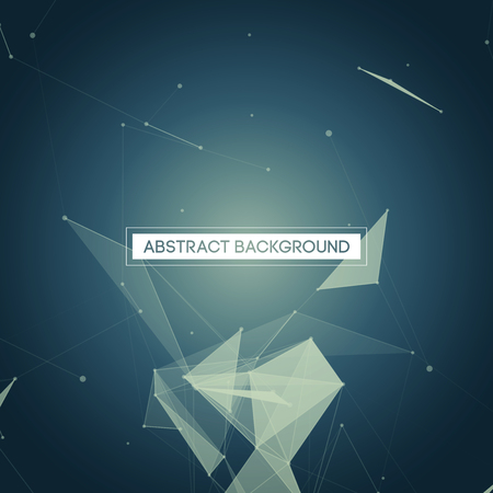 Abstract Polygonal Space - Blue Background with Bright Low Poly Connecting Dots and Lines - Connection Structure - Futuristic Vector Design