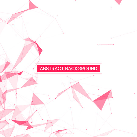 technology: Abstract Polygonal Space - White Background with Pink Low Poly Connecting Dots and Lines - Connection Structure - Futuristic Vector Design