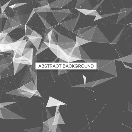 digital background: Abstract Polygonal Space Gray Background with White Low Poly Connecting Dots and Lines - Connection Structure - Futuristic Vector Design