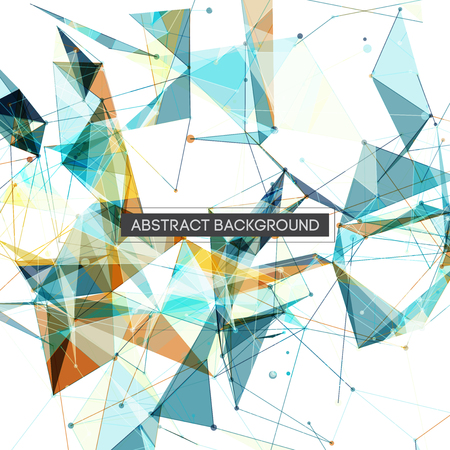 digital background: Blue and Orange Abstract Multicolor Network Mesh on White Background with Text - Vector Illustration Illustration