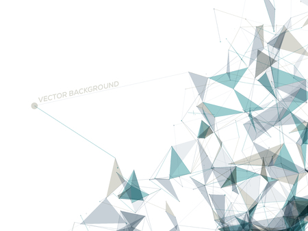 gray: Abstract Polygonal Space - White Background with Gray and Blue Low Poly Connecting Dots and Lines - Connection Structure - Futuristic Vector Design