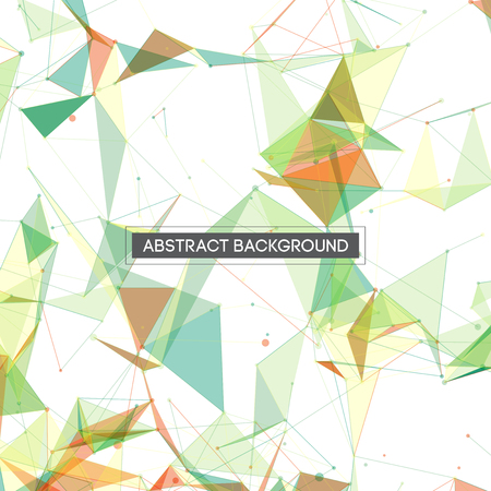 modern background: Colorful Green Yellow and Blue Abstract Network Mesh on White Background with Text - Vector Illustration