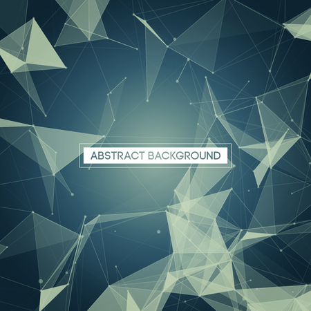 technology: Abstract Polygonal Space - Blue Background with Bright Low Poly Connecting Dots and Lines - Connection Structure - Futuristic Vector Design