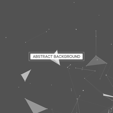 info: Abstract Polygonal Space Gray Background with White Low Poly Connecting Dots and Lines - Connection Structure - Futuristic Vector Design